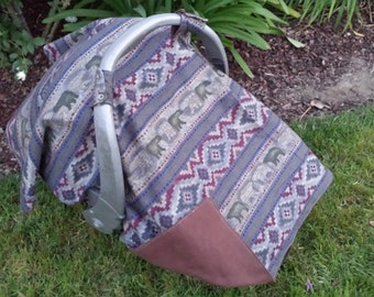 Baby Car Seat Canopy and Matching booties - Camping Baby