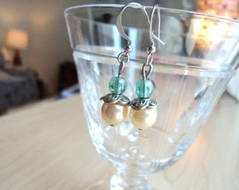 Earrings made with Pastel Blue Beads and Pearls