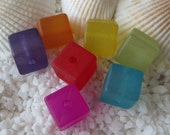 Resin Frosted Cube Beads - 9mm - CHOICE OF COLOR - 25 pcs