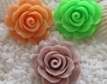 Resin Flower Cabochon - 18mm  - 12 pcs - CHOICE OF COLOR