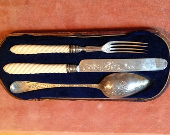Antique Sterling Silver Silverware Set Fork Knife Spoon H&T Birmingham PWB