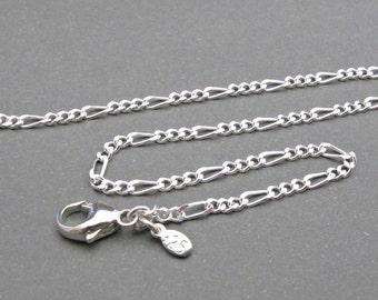 Sterling Silver Figaro Anklet - Ankle Bracelet - Womens Anklet - Womens Jewelry - 925 Silver - Figaro Chain - Summer Jewelry - Gift Idea
