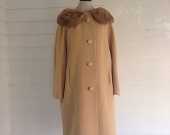 Vintage CARAMEL Wool Coat w FUR Collar
