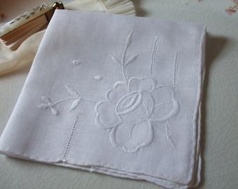 Hankie Rose Embroidered Handkerchief Bridal Wedding Linen