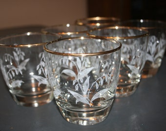 Six 6 Vintage Libbey Low Ball Glasses Lily of the Valley Gold White