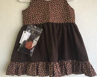 12 Months Girl Dress w/Crochet Headband_Brown Floral