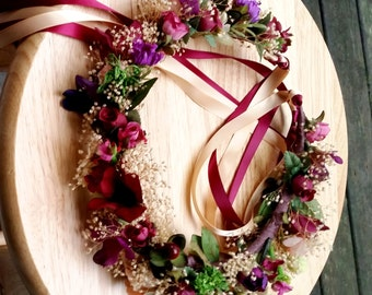Destination Wedding Flower Crown jewel tones Marsala wine purple peach Bridal party hair wreath accessories little girl halo garland circlet