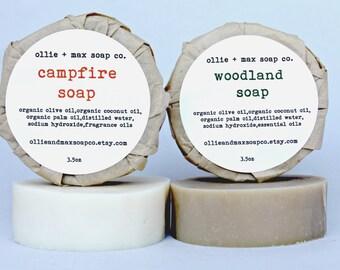 SALE Campfire Soap, Woodland Soap, Soap Set, Gift Soap, Vegan Soap