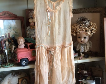 Antique Sheer Little Girls Flapper Drop Waist Dress Charming As Can Be