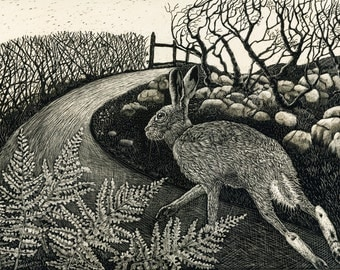 Hare on the Run Art Print of Original Scraperboard