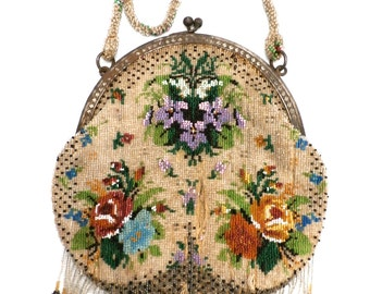 Antique Beaded Purse Beautiful Florals Damaged But Usable Vintage 1900