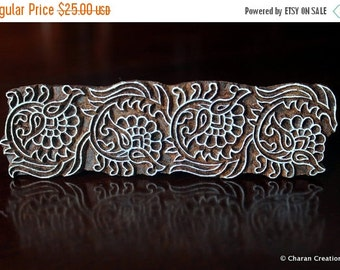 THANKSGIVING SALE Wood Block Stamps, Indian wood stamps, Pottery Stamps, Textile Stamps- Decorative Floral Border