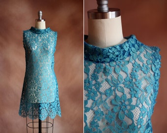 vintage 1960's blue sheer lace a-line scallop hem mini dress / size s