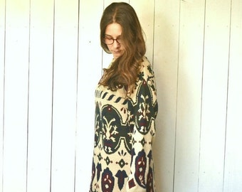 Baroque Knit Sweater 1980s Vintage Beige Folk Long Slouchy Pullover Cotton Sweater Large