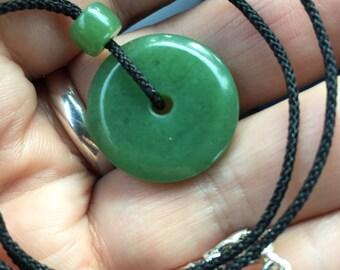Uber Rare Hand Carved Wyoming Huruza Apple Green Jade Pendant Necklace