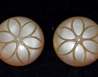 Fabulous Engraved Vintage Flower Button Earrings- Bakelite, Celluloid, or Lucite?