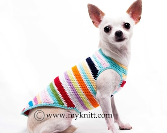 Rainbow Teacup Dog Clothes, Cute Chihuahua Sweater, Pet Boutique Crocheted Dog Sweater, DK995 by Myknitt - Free Shipping