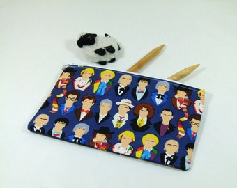 """Knitting Project / Cosmetic Bag - Small Zipper Notions Bag in Dr. Who Fabric with """"Starry Night"""" Cotton Lining"""