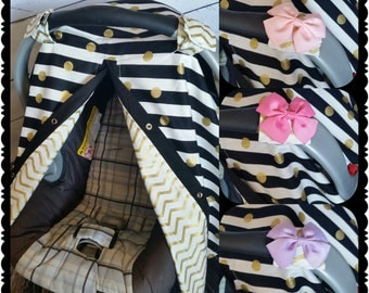Carseat Canopy  Gold Black Dot Chevron You PICK Bows REVERSIBLE Carseat cover carseat tent