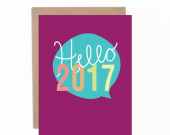 Hello 2017 | Byeeeee 2016 | Funny New Years Cards | Holiday Card | Individual Card with Premium Kraft Envelopes