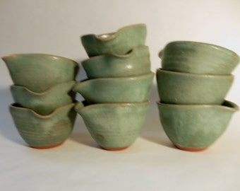 Turquoise stoneware pottery sauce cups, prep bowls