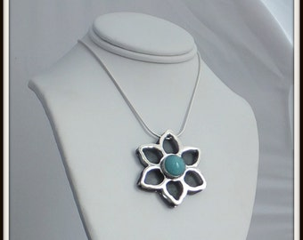 OOAK Amazonite sterling silver pendant Flower decoupage  riveted Sterling silver chain