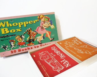 Vintage Coloring Book Set: Whopper Box 20 Books to Color