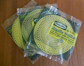 6 Inch Yellow Plastic Doilies, 8 Total, 2 Unopened Packages / Vintage Plastic Table Mats, Vintage Plastic Craft Supply
