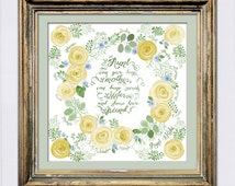 Personalized Christmas Gift for Aunt, Watercolor Rose Wreath, Yellow Rose Wreath, Great Aunt Gift from Nieces and Nephews, Grandparents Gift