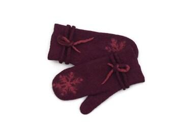 Felted Mittens Wool Aubergine