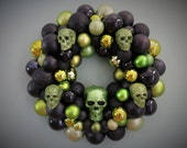 HALLOWEEN Wreath SKULL Black and LIME Ornament Wreath with Skulls