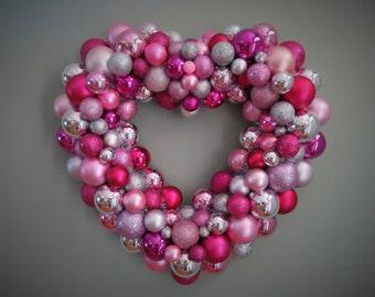 "VALENTINE'S DAY HEART Wreath  Magenta Pink Silver  Ornament Wreath 21"""
