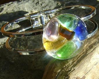 Sea Glass Bangle Bracelet: Multi color Bracelet