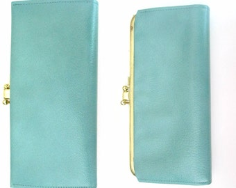 Turquoise Blue Leather Wallet Mid Century Buxton Multicompartment Clutch Purse
