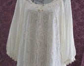 Victorian LADY -  Romance in LACE Tunic ToP  -  with Lace Trimmings - Size X-LARGE