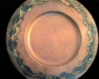 Huge Arte de Mexico copper serving plate, handmade with applied copper leaves