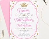 Princess Baby Shower Invitation, Polka Dot Princess Invitation, Girl Baby Shower Invitation, Crown Baby Shower Invites, Princess Invites
