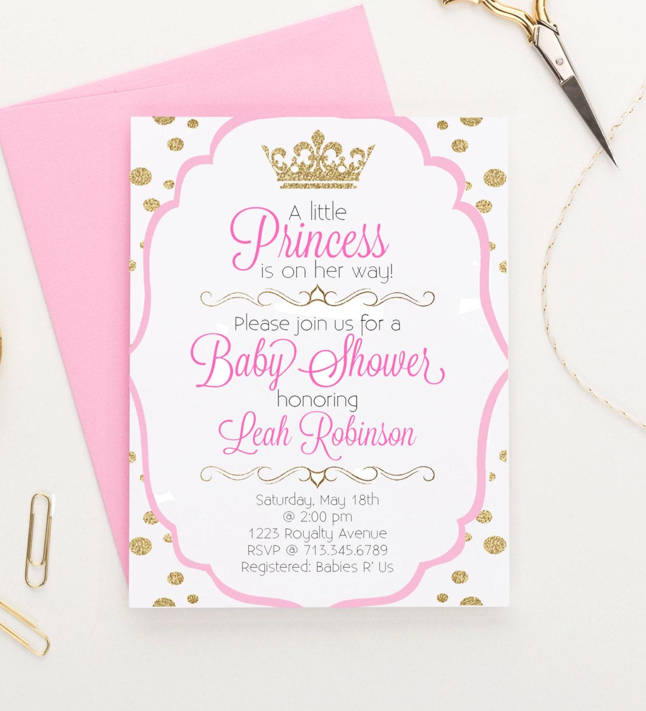 Princess Baby Shower Invitation, Polka Dot Princess Invitation, Girl ...