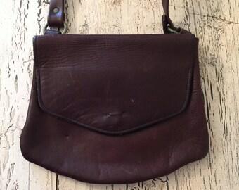 Vintage BoHo Leather Purse - Distressed Bort Carlton Leather Handbag - Rustic Brown Leather
