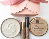 SILK Minimalist Makeup Kit includes an Organic Face Primer, a Clear Mascara/Brow Gel and a clear Organic Jojoba Oil Lip Gloss
