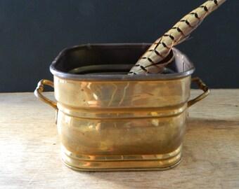 Vintage Brass Planter. Traditional. Cottage Decor.