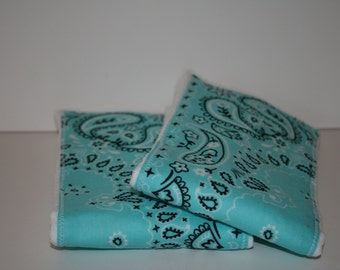 Burp Cloth/Burp Rag Baby Cotton Diaper Aqua Bandana (1)