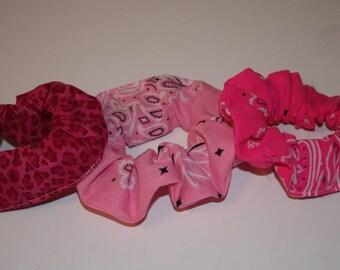 Scrunchie set of three hot pinks