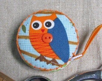 Retractable tape measure, covered with whimsical owl fabric- Now in Aqua!