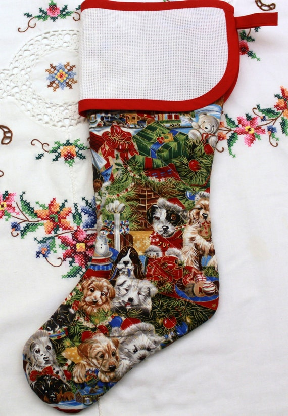 Christmas Puppies Stitchable Quilted Cross stitch Christmas Stocking