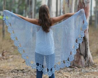 Shawl crochet Light blue shawl Lace Crochet shawl Wedding shawl Wraps shawls Wedding wrap Crocheted Shawl