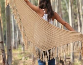 Knitted shawl Beige shawl   Tan Wraps Shawl  hand knit shawl