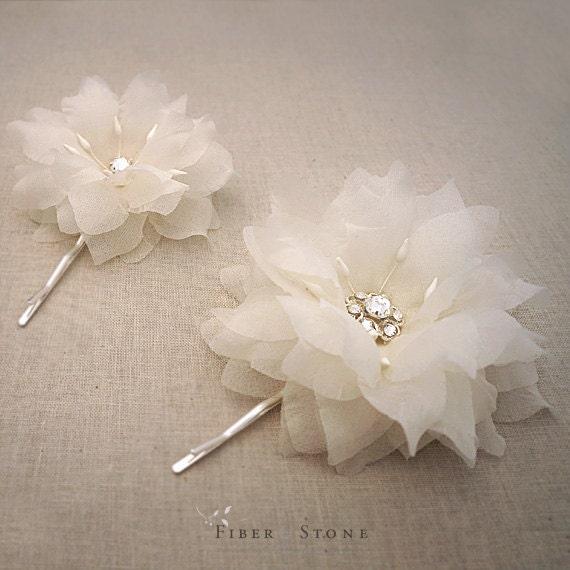 Pure Silk Wedding Hair Flowers, Swarovski Bridal Hair Flowers, Bridal Hair Piece, Hairpiece, Wedding Hair Piece, Floral Wedding Hair Pins