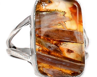Turkish Tube Agate Sterling RING SIZE 9. Solid Sterling Silver