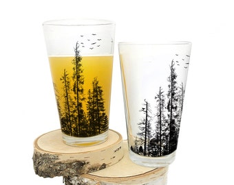 Forest Pint Glasses - Screen Printed Glassware - Set of two 16oz. Pint Glasses